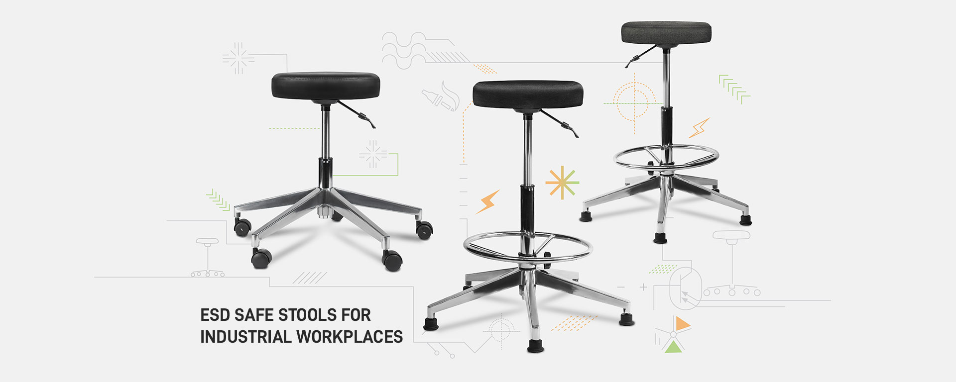 esd safe office stool